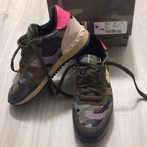 Valentino Leather & Suede Camo Rockstud Sneakers